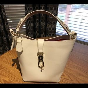 Dooney & Bourke White Logo Lock Lily Bucket Bag